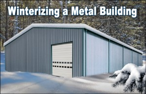 Snow-bound metal building