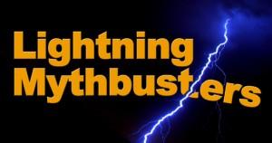 "Lightning streaks across a dark sky, splitting the headline ""Lightning Mythbusters"""