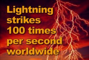 "Lightning streaks across a sunset-lit sky with the headline: ""Lightning Strikes 100 times per second worldwide"""