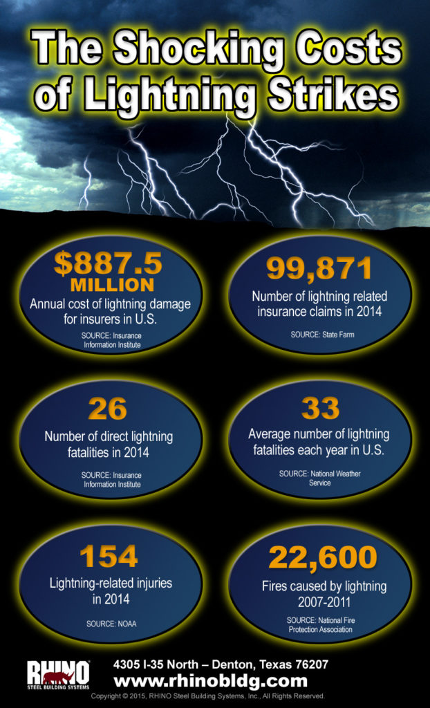 Lightning streaks from an ominous clouds in this amazing infographic about the deadly costs of lightning