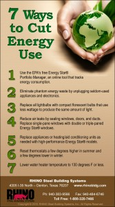 7 Ways to Cuty Energy Use infographic