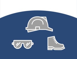 Icon depicting the safety apparel needed when construction steel building kits.