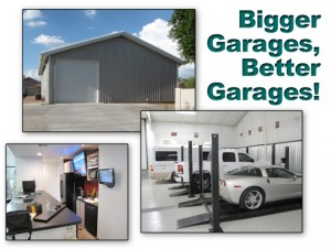 Collage of photos show the amenities of a steel building multi-vehicle garage with a bar, office, and guest room