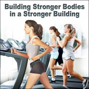 "Women working out on treadmills with the caption""Build Strong Bodies in a Strong Steel Building"""