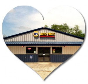 Heart-shaped photo of a steel building used as an NAPA auto parts store