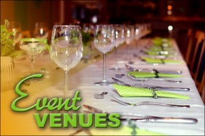 """Banquet hall with place settings and the caption """"Event Venues."""""""
