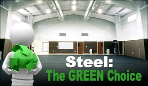 Cartoon man with a green globe stands before a steel building recreational facility