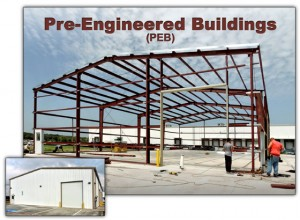 Two photos of the same steel building: one under construction, the other when completed.