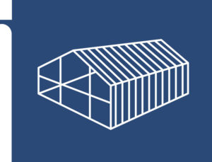 Graphic image of a steel framed building system.