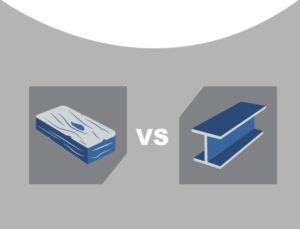 Iconic image depicting lumber versus rigid steel prefab buildings.