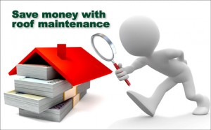 """Cartoon figure examines a red roof over a large stack of money, with the headline """"Save Money with Roof Maintenance"""""""