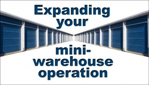 """Blue-doored self storage units with the caption """"Expanding Your Mini-warehouse Operation"""""""