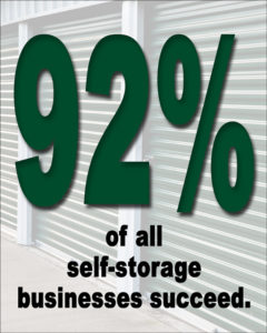 Image shouts that 92% of all self-storage businesses succeed.