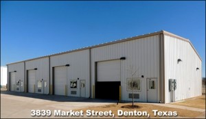 Large four-bay industrial metal building in the RHINO Business Park in Denton, Texas