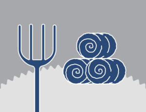 Icon of a pitch fork and round hay bales.