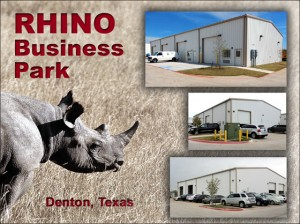 Three photos of various industrial metal buildings in Denton, Texas' RHINO Business Park