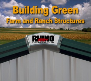 Closeup of the RHINO logo mounted on a metal building peak with hay fields in the background