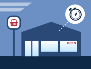 Graphic depiction of a metal building convenience store.