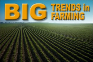 """Rows of green crops under vibrant blue sky with text that reads """"Big Trends in Farming"""""""