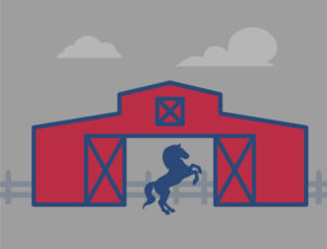 Icon depicting metal horse barns.