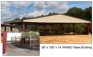 A 90' x 100' open-air steel structure covers this equestrian exercise ring.