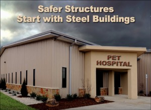 """Attractive metal building pet hospital beneath a dark, stormy sky with the headline """"Safer Structures Start with Steel Buildings"""""""