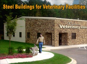 Photo of a brick-trimmed metal building veterinarian clinic with man and dog departing