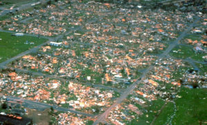 Arial photo of the devastation caused y Hurricane Andrew.