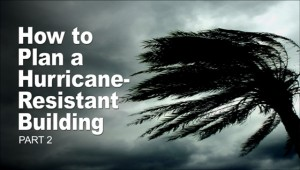 Fierce winds bend palm fronds before wicked-looking storm clouds in part 2 of Hurricane-resistant buildings