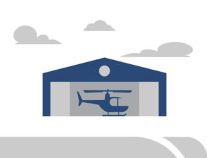 Graphic drawing of a helicopter inside a steel hangar.