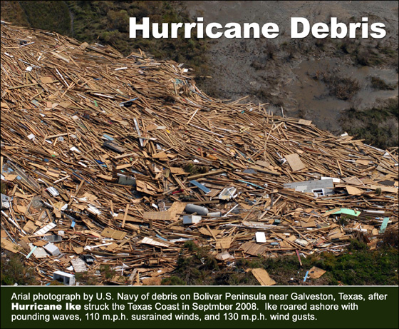 Arial photograph of incredible pile of debris in the wake of Hurricane Ike in 2008