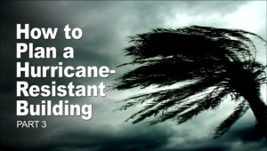 Fierce winds bend palm fronds before wicked-looking storm clouds in part 3 of Hurricane-resistant buildings