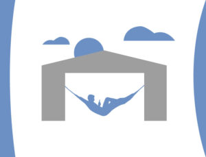 Drawing of a man resting in a hammock in his low-maintenance metal building.