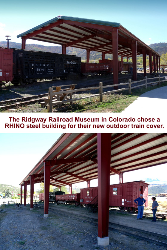 Two photo views of the RHINO steel building cover for the trains at the Ridgway Railroad Museum in Colorado