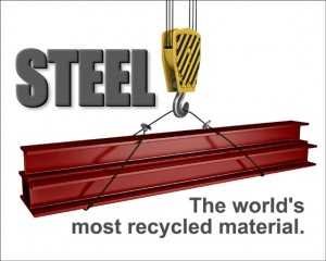 """Graphic illustration of red iron steel beams hanging from a crane with caption: """"Steel: the World's Most Recycled Material"""""""