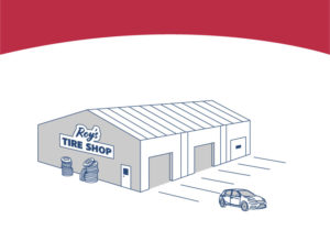Graphic drawing of a steel pre-engineered building tire store.