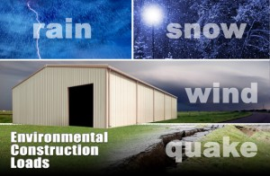 Metal building loads in rain, snow, wind, and earthquakes