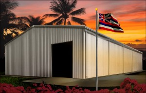 Beautiful tropical sunset behind a tan steel building with brown trim, as Hawaiian flag files in the foreground