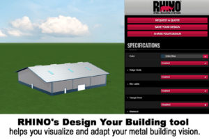 Screen shot of creating a metal building on RHINO's Online Design Tool.