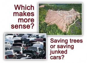 Comparing wood versus steel with an overhead view of a clear-cut forest and a wrecking yard full of junked cars
