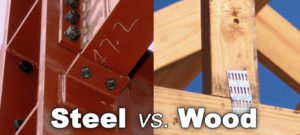 Photo comparing steel building connections to wood building connections.