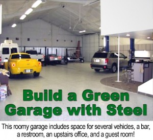 Photo of the inside of a large multi-vehicle metal building garage with built-in bar, office, and guest room