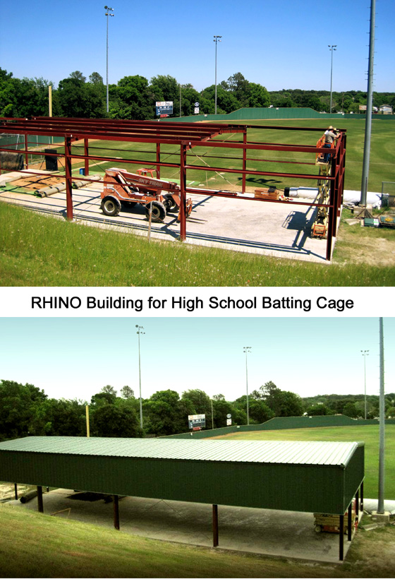 Two images show a school's steel building batting cage under construction and then completed.