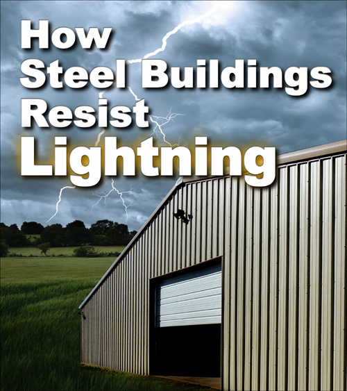 """Large metal building with lightning flashing in the background and headline """"How Steel Buildings Resist Lightning"""""""