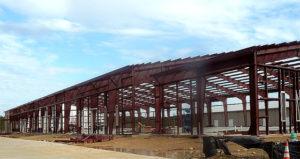 Photo of a RHINO custom steel building under construction.