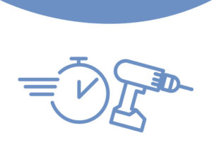Icon depicting the faster construction of a metal building kit.