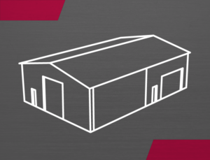 Graphic drawing of a prefab steel building for manufacturing and warehousing,