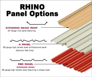 Illustration of the three types of steel panels available from RHINO Steel Building Systems.