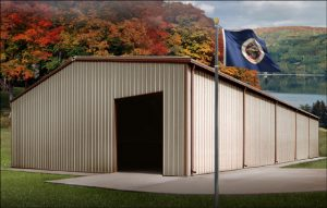 Tan-and-brown metal building sits near a Minnesota lake in autumn.