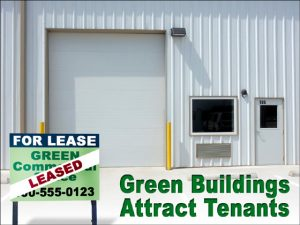"""Close-up of an industrial green metal building with a """"For Lease"""" sign in from of it."""